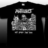 Antisect- Out From The Void on front, Grain Symbol on back on a black shirt