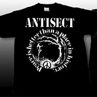 Antisect- Peace Is Better Than A Place In History on front, Grain Symbol on back on a black shirt