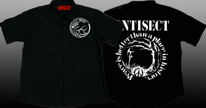 Antisect- Grain on front, Peace Is Better Than A Place In History on back on a black short sleeve work shirt (Sale price!)