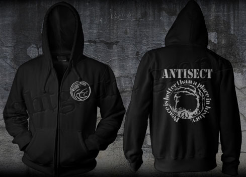 Antisect- Grain on front, Peace Is Better Than A Place In History on back on a black zip up hooded sweatshirt (Sale price!)