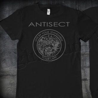 Antisect- Live By Your Standards on front, Grain Symbol on back on a black shirt