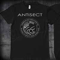 Antisect- There Is No Them And Us on front, Grain Symbol on back on a black shirt