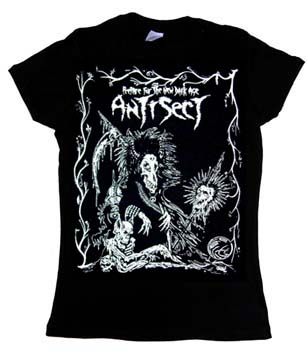 Antisect- Prepare For The New Dark Age on a black girls fitted shirt (Sale price!)