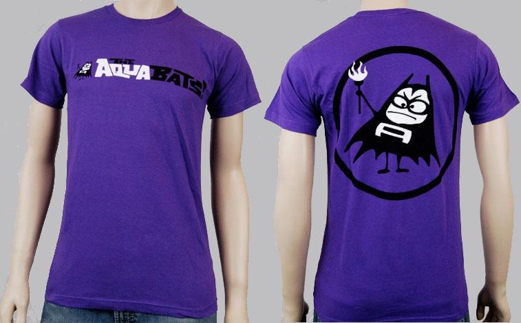 Aquabats- Logo on front, Aquabomber on back on a purple shirt