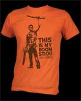 Army Of Darkness- This Is My Boom Stick! on an orange heather ringspun cotton shirt