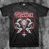Asesino- Goat Skulls on front, Crucifixion on back on a black shirt (Sale price!)