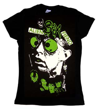 Alien Sex Fiend- Face on a black girls fitted shirt by Lethal Amounts