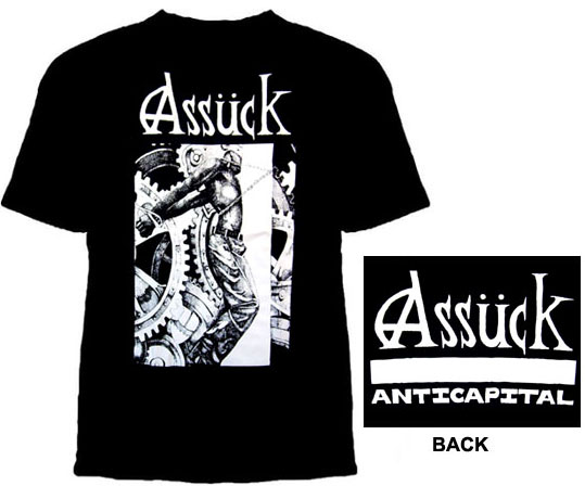 Assuck- Chained Guy on front, Anti Capital on back on a black shirt (Sale price!)
