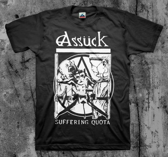 Assuck- Suffering Quota on a black shirt