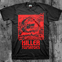 Attack Of The Killer Tomatoes- Tomato on a black shirt