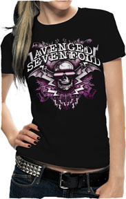 Avenged Sevenfold- Sunglasses Deathbat on a black girls fitted shirt (Sale price!)