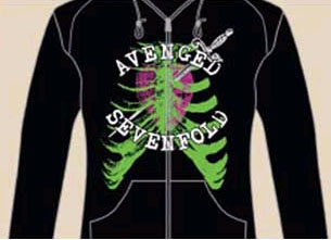 Avenged Sevenfold- Heart Attack on a black girls zip up fitted hooded sweatshirt (Sale price!)