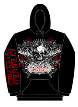 Avenged Sevenfold- Ornate Skull on front, Logo on sleeve on a black zip up hooded sweatshirt