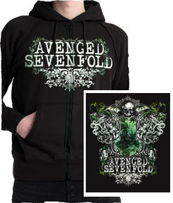 Avenged Sevenfold- Logo on front & back on a black zip up hooded sweatshirt