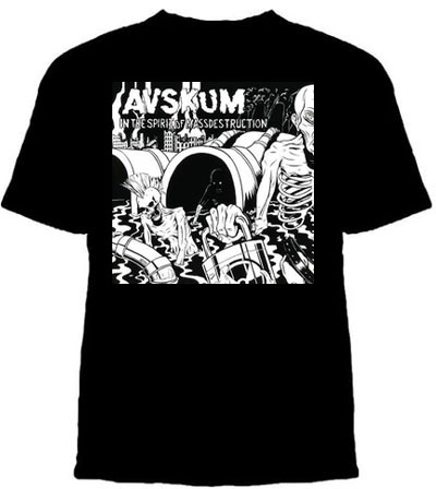 Avskum- In The Spirit Of Mass Destruction on a black YOUTH SIZED shirt (Sale price!)