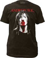 Andrew WK- Face on front, Party Hard on back on a black ringspun cotton shirt (Sale price!)