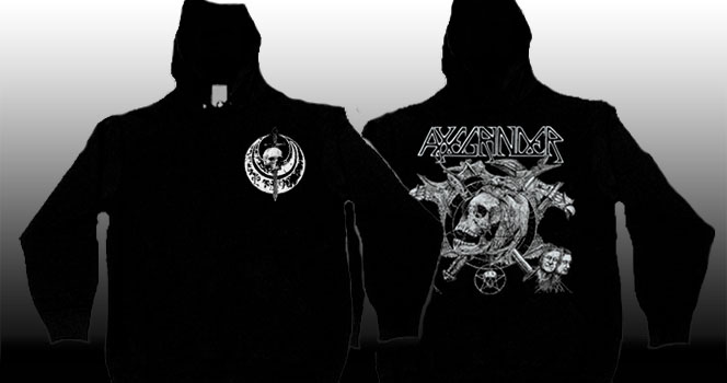 Axegrinder- Skull on front, Skull & Axes on back on a black zip up hooded sweatshirt