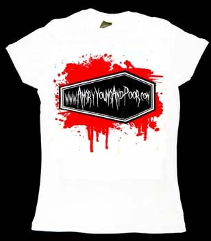 Angry Young And Poor- Coffin Splatter on a white fitted girls shirt