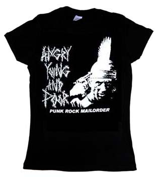 Angry Young And Poor- Gun To Head (Deer Hunter) on a black fitted girls shirt