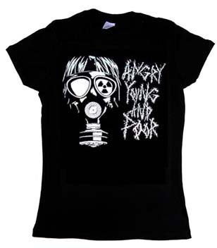 Angry Young And Poor- Gas Mask on a black fitted girls shirt
