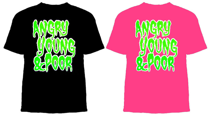 Angry Young And Poor- Green Logo shirt