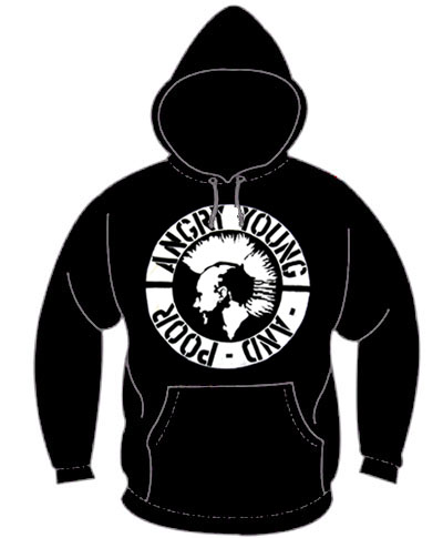 Angry Young And Poor- Mohawk Punk on a black hooded sweatshirt