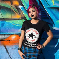 Angry Young And Poor- Star Logo on a black fitted girls shirt
