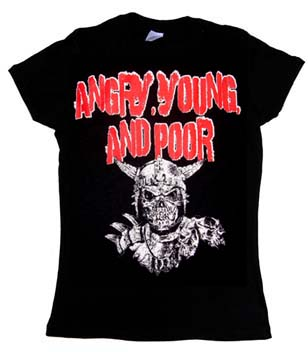 Angry Young And Poor- Viking Skull on a black girls fitted shirt
