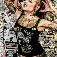Angry Young And Poor- Zombie on a black spaghetti strap girls fitted shirt