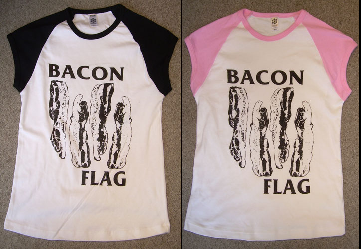 Bacon Flag on a girls cap sleeve shirt