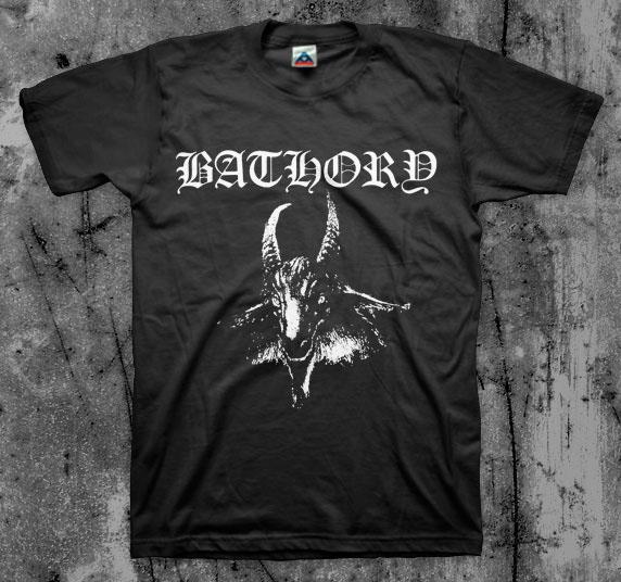 Bathory- Goat Head (White) on a black shirt