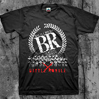 Battle Royale- Survival Program (White & Red Print) on a black shirt