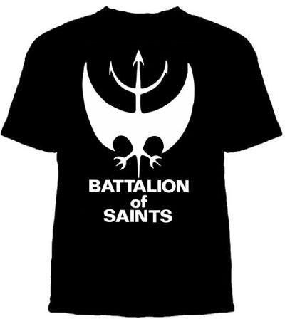 Battalion Of Saints- Bat Symbol on a black YOUTH sized shirt