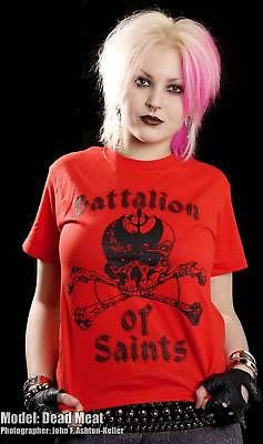 Battalion Of Saints- Skull & Crossbones on a red shirt