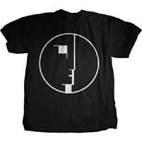 Bauhaus- White Face In Circle on a black ringpun cotton shirt