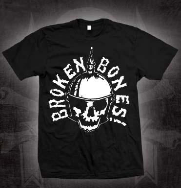 Broken Bones- Skull With Helmet on a black shirt (Sale price!)