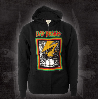 Bad Brains- Lightning on a black zip up hooded sweatshirt