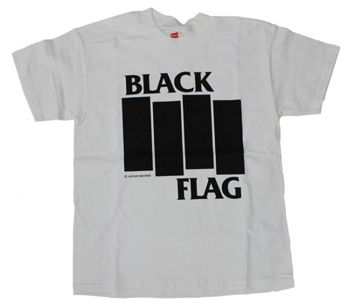 Black Flag- Bars And Logo on a white shirt