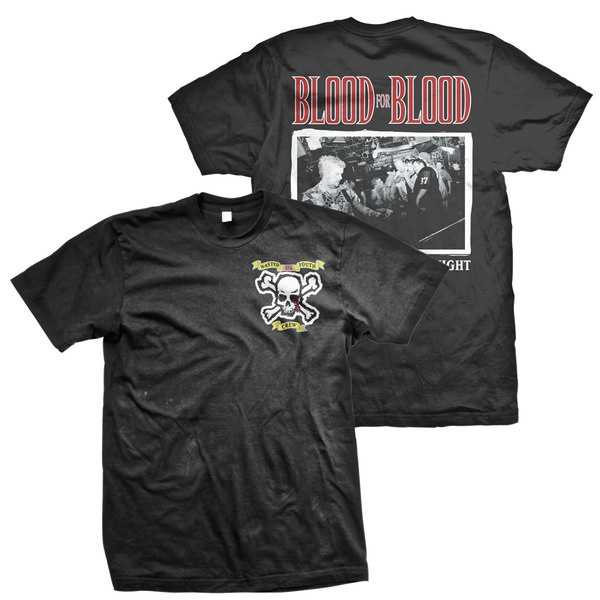 Blood For Blood- Wasted Youth Crew Skull on front, Band Live on back on a black shirt