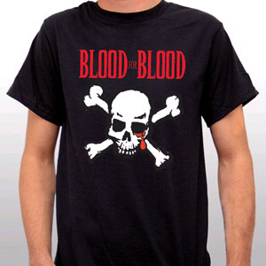 Blood For Blood- Skull And Crossbones on a black YOUTH sized shirt