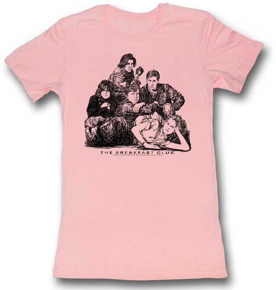 Breakfast Club- Group Pic on a pink girls fitted shirt (Sale price!)