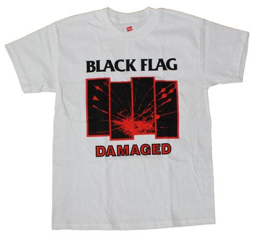 Black Flag- Damaged on a white shirt