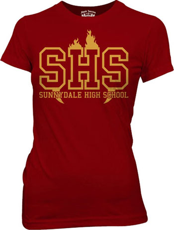 Buffy The Vampire Slayer- Sunnydale High School on a maroon girls fitted shirt