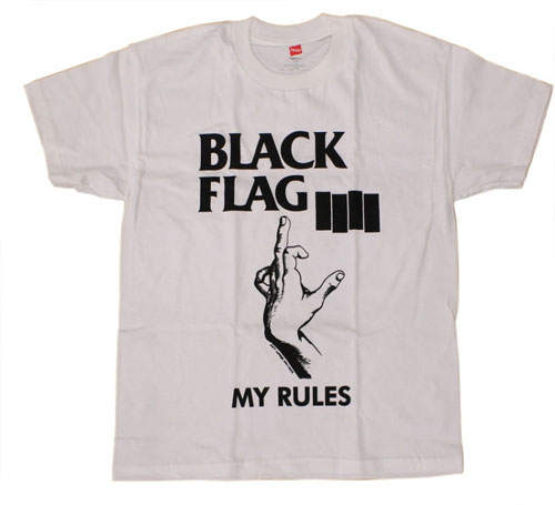 Black Flag- My Rules on a white shirt
