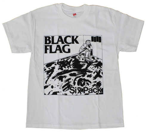 Black Flag- Six Pack on a white shirt