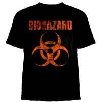 Biohazard- Distressed Logo on back on a black shirt