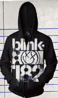 Blink 182- Logo on a black zip up hooded sweatshirt