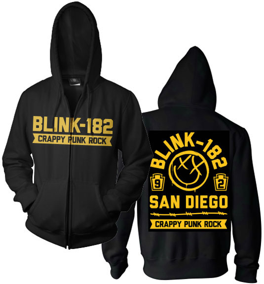 Blink 182- Crappy Punk Rock on front & back on a black zip up hooded sweatshirt