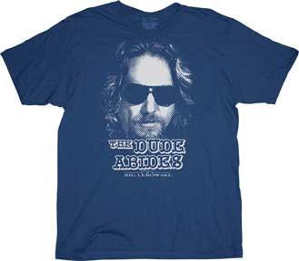 Big Lebowski- The Dude Abides on a navy shirt