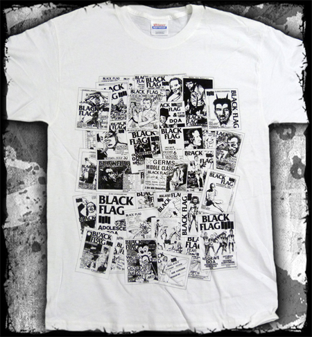 Black Flag- Flyer Collage on a white shirt